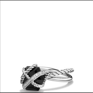 David Yurman black onyx and diamond ring.